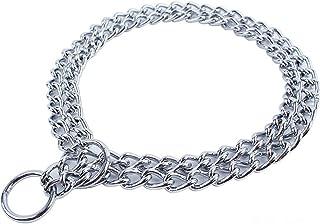 JWPC Dog Chain Collar Pet Iron Metal Double Chain Row Neck Leash Gear Choke Chain Walking Training for Small Medium Large ...