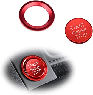 GTINTHEBOX 2PCS S-Line RS Style Sport Red Slim Aluminum Keyless Engine Push Start Stop Button Plus Surrounding Decoration Ring For Audi A4 A5 A6 A7 A8 Q5, etc. w/Keyless Push Start Stop Engine Featur