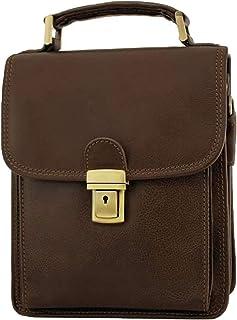 LIVAN® L9015 - Bolso bandolera con 3 fuelles y correa para el hombro, estilo clásico vintage de piel auténtica para hombre