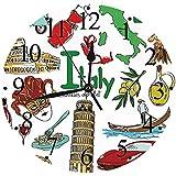 Yaoni Silencioso Wall Clock Decoración de hogar de Reloj de Redondo,Italia, Diversión, Colorido, Dibujo, colección, Italia, Iconos, países, Alfabeto, Lugares d,para Hogar, Sala de Estar, el Aula