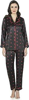 Fabienne Women's Satin Pajama Set Red Heart Printed Notch Collar Sleepwear Two Piece Nightwear