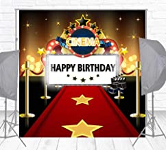 HUAYI 5x5ft Hollywood Red Carpet Backdrops for Birthday Party Cinema Dress-up and Awards Night Ceremony Glitter Movie Themed Backgrounds Party Event Decor Adults Portraits Cake Table Banner w-2207