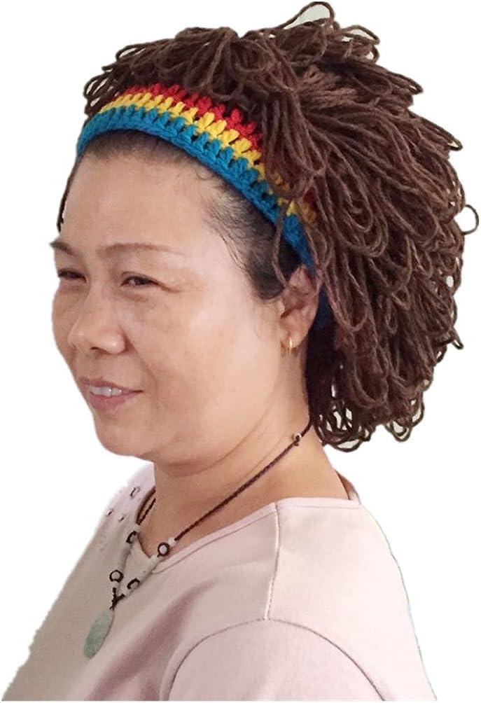 BIBITIME Funny Cool Jamaica Women Beanie Prank Wig Hats Handmade Knitted Cap