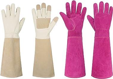 Bundle - 2 Pairs: Rose Pruning Long Gardening Gloves, Ladies Thorn Proof Gauntlet Cowhide Leather Gloves - Beige, Pink, Mediu