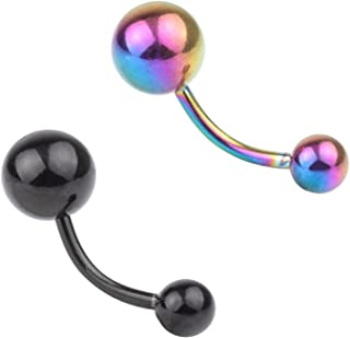 BodySparkle Body Jewelry Double Jeweled Industrial Barbell Piercing Earring 14g 2 inch-50mm Midnight Blue 3mm End Balls