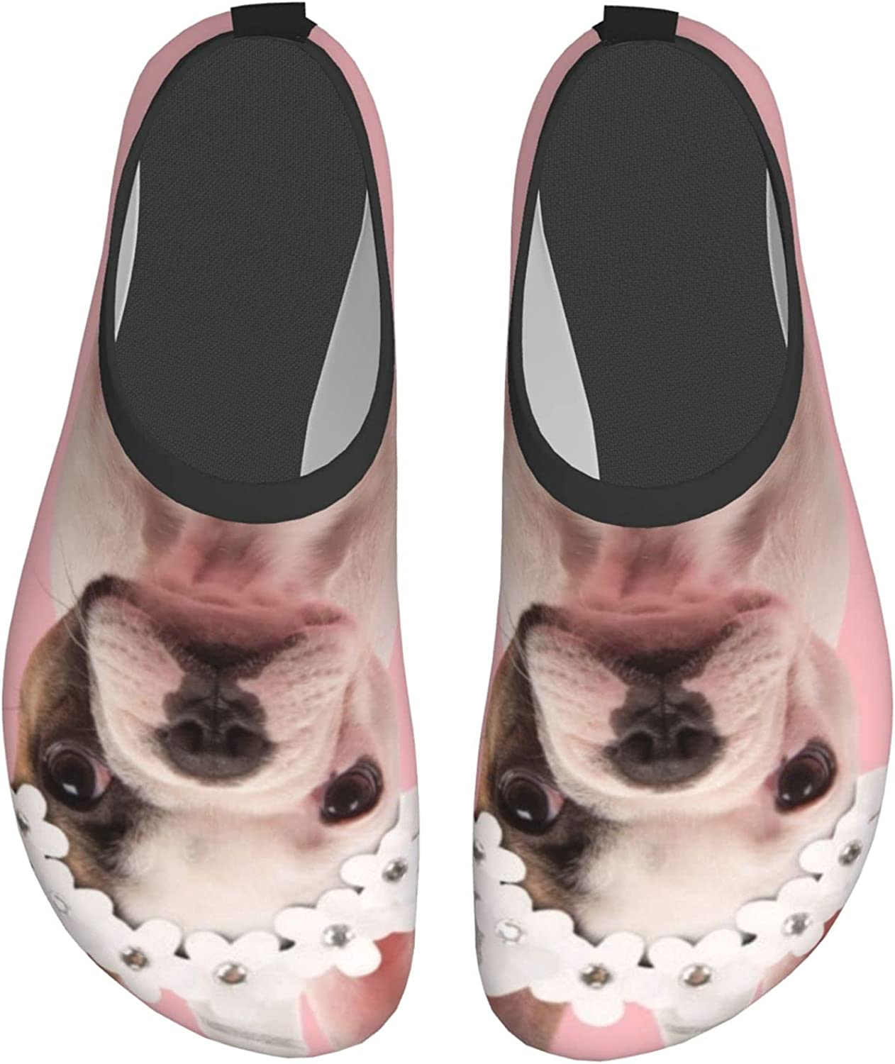 Cute Standing French Bulldog Puppy Wearing Womens and Mens Water Shoes Barefoot Quick-Dry Aqua Socks Slip-On for Outdoor Beach Swim Yoga