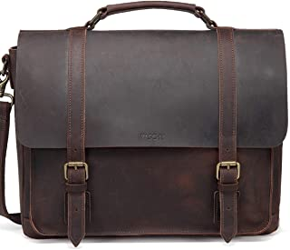 Leather Messenger Bag for Men,VASCHY Handmade Distressed Leather Vintage Satchel Briefcase