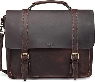 Leather Messenger Bag for Men,VASCHY Handmade Distressed Leather Vintage Satchel 15.6 inch Laptop Business Briefcase Shoulder Bag with Detachable Strap