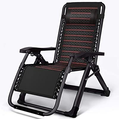 Folding Wicker Lounge Chair,Lunch Break Recliner with Headrest, Cushioned Beach Chair Sun Lounger Bed for Garden Outdoor Camping Home Leisure Balcony (Color : A)