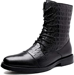 Yi-xir classic design For Men Motorcycle Boots Lace up Leather Anti-skid Round Toe Crocodile Texture Slope zipper (Fleece ...