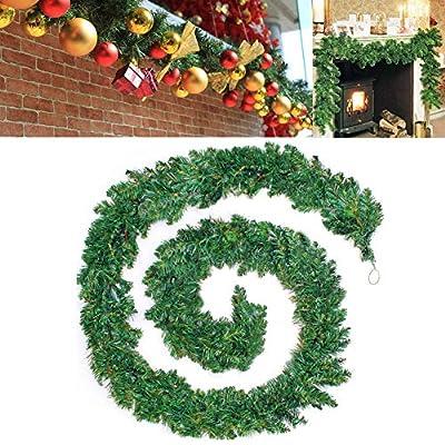 Decorated Christmas Wreath Garland Plain Green Wall Door Xmas Decoration 9FT/2.7M
