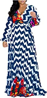 OFEFAN Womens Stylish Chiffon V-Neck Printed Floral Maxi Dress with Waist Belt Plus Size