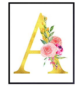 Letter S Initial Monogram Wall Decor - Floral Alphabet Art Home Decoration for Bedroom, Living Room, Bathroom, Office - Personalized Monogrammed Gift for Women, Girls, Teens - Pink Gold Roses Sign