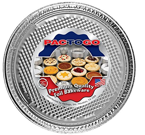 Pactogo 12' Round Aluminum Foil Pizza Pan - Disposable Waffle Bottom Baking Sheets Made in USA (Pack of 25)