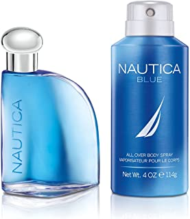 Nautica Blue, Men's Fragrance, 2 Piece Set, 1.7 oz. Eau de Toilette, 4.0 oz. Deodorizing Body Spray, Classic Scents, Great...