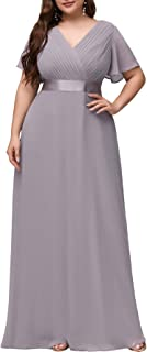 Ever-Pretty Vestito da Cerimonia Donna Scollo a V Stile Impero Linea ad A Maniche Corte Taglie Forti 09890-EU2