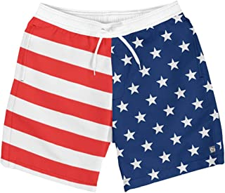 Men's Patriotic USA American Flag Swim Trunks Board Shorts for Guys