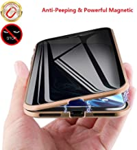MIMEI Privacy Magnetic Case for iPhone XR 6.1 inch, Clear Double Sided Tempered Glass [Magnet Absorption Metal Bumper Frame] Thin Anti-Spy 360 Full Protective Phone Case 5.8'' (Gold, XR 6.1