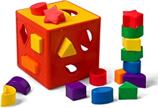LuaLua LuaLua02 Baby Blocks Shape Sorter Toys Puzzle Children's Building Blocks with Multicolor Sorter Cube Box Includes 18 Shapes - Color Recognition Shape Gifts for Boy & Girl Toddlers