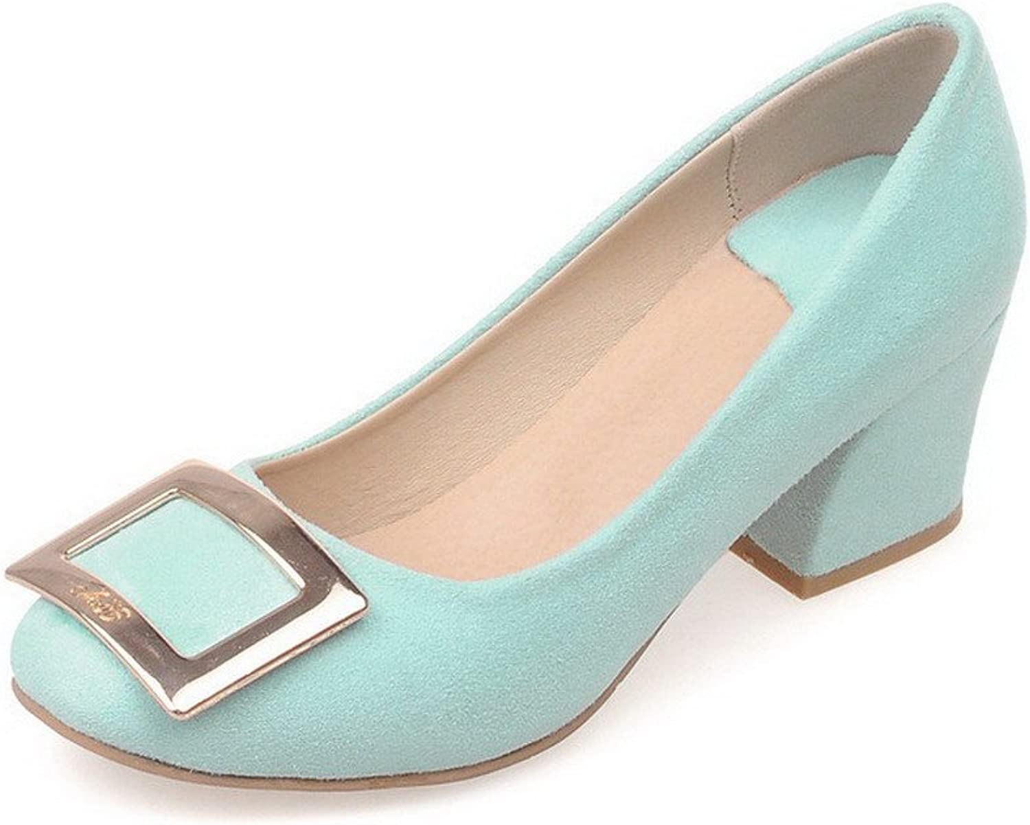 AllhqFashion Women's Pull-on Kitten-Heels Imitated Suede Solid Square Closed Toe Pumps-shoes