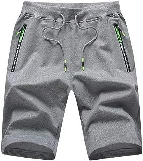 Tansozer Men's Casual Shorts Elastic Waist Comfy Workout Shorts Drawstring with Zipper Pockets