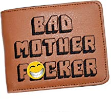 Bad Mother Fcker Brown Leather Wallet Embroidered Pulp Fiction Mens Jules Mofo