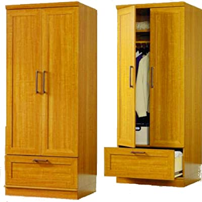 Amazon.com: Wood & Style 4-Door Armoire Wardrobe, Espresso ...