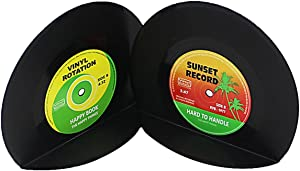 VintageBee Retro Vinyl Bookends Black Record Book Ends Classic CD Vintage Decorative Bookends for Shelves Nonskid Bookend Supports Black 1Pair
