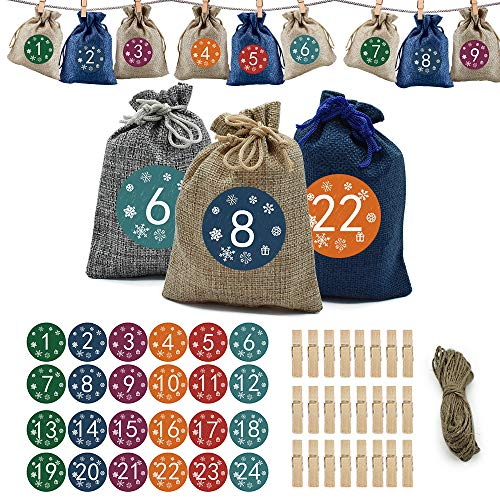 Adventskalender zum Befüllen, DIY Weihnachts-Adventskalender Befüllen, Countdown-Adventskalender-Füllungen Mit 24 Aufklebern, Kordelzug-Taschen Als Geschenk, Weihnachtsdekoration