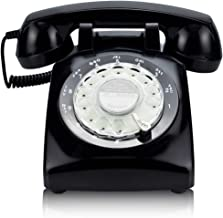 ECVISION Black Color Vintage 1960's Style Rotary Retro Old Fashioned Rotary Dial Home Telephone