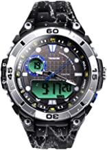 TEKMAGIC 10ATM 100m Outdoor Waterproof Sports Watch for Swimming with Back Light Stopwatch Chronograph Function Support Dual Time Zone (W17-Y)