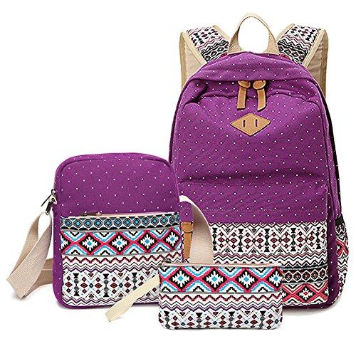 Schulrucksack + Kühltasche + Mäppchen Schultaschen 3 Set aus Canvas für Jungen Mädchen in der Schule Freizeit Lila