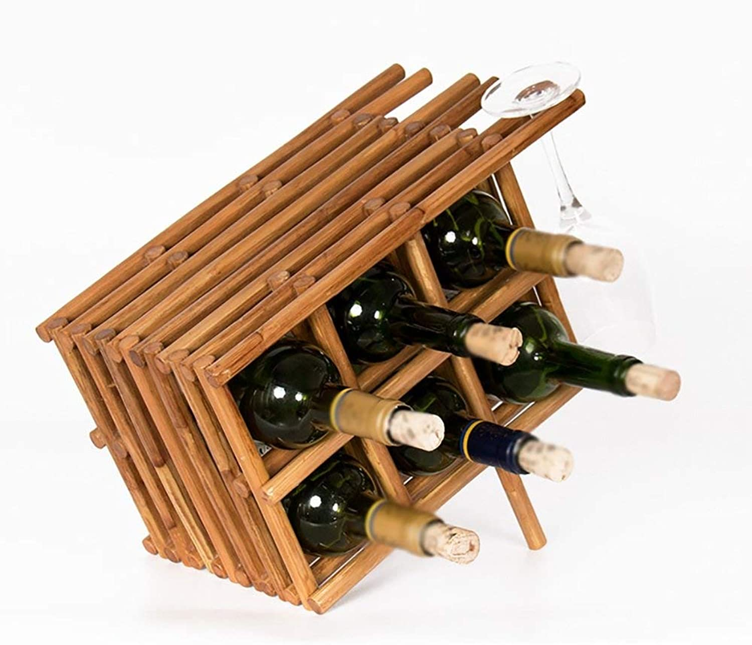 Red Wine Shelf Wine Rack European Pure Handrattan Home Living Room Wine Rack (Capacity   12 Bottles) (Size   6 Bottles)