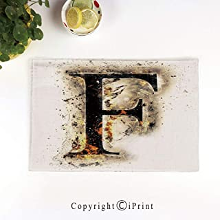 LIFEDZYLJH Linen Place Mats,Washable Fabric Placemats for Dining Room Kitchen Table Decor,Set of 4,Burning F Syllable Spoken Symbols of Language in Flames Latin Character,Tan Black Orange