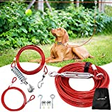 LUFFWELL Dog Runner for Yard, 100FT Dog Leads for Yard Tie Out Cable with 10FT Pully Chain and 7FT Binding for Dogs, Heavy Duty Trolley System Aerial Run Zip Line for Running Outside or Camping
