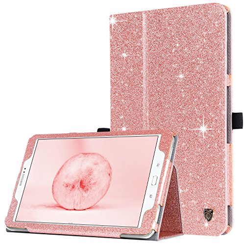 BENTOBEN Samsung Galaxy Tab A 10.1 2016 Case, Tab A 10.1 2016 Case Leather, Glitter Sparkle Folio Folding Stand with Auto Sleep/Wake Feature for Galaxy Tab A 10.1 2016 [SM-T580N / T585N] - Rose Gold