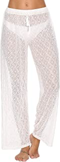 Julier Womens Cover Up Pants Sexy Hollow Out Crochet High...