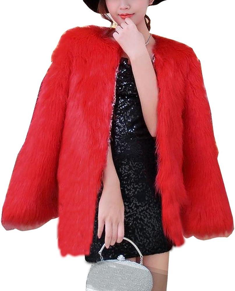 LIYT Women's Fashion Winter Faux Fur Coat Overcoat