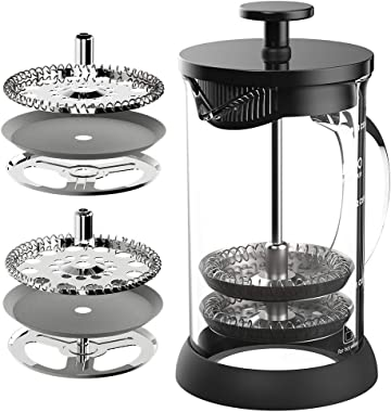 MAVO French Press Coffee Maker 6 Level Filtration System, Stainless Steel Heat Borosilicate Glass (20 Ounce)