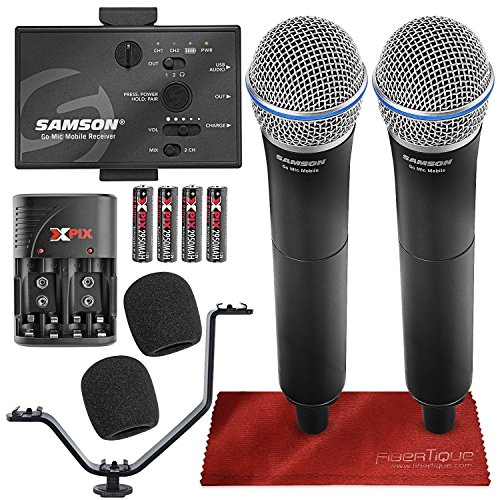 Samson Go Mic Mobile Professional Digital Wireless System with Dual Q8 Dynamic Handheld Mic/Transmitter Bundle
