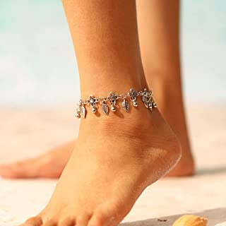 Edary Boho Anklet Tassel Bracelet Beach Silver Leaf Anklets Chain Foot Jewelry for Women and Girls
