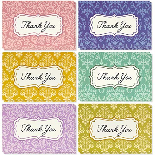 Blank Thank You Cards and Envelopes, 6 Damask Floral Designs (4 x 6 In, 48 Pack)