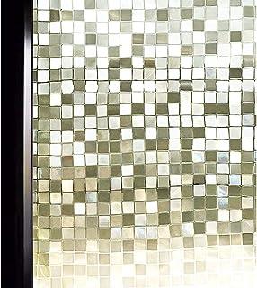 DUOFIRE 3D窓用フィルム 目隠しシート ガラスフィルム 断熱 遮光 結露防止 紫外線UVカット 水で貼る 貼り直し可能 装飾フィルム おしゃれ [モザイク014] (0.3M X 2M)