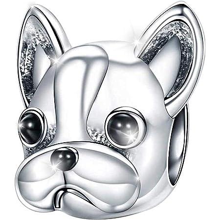 MariaFonte Bead Charm a Forma di Cane Bulldog Francese in Argento Sterling 925, Compatibile con Le più Diffuse Marche di Braccialetti e collane.