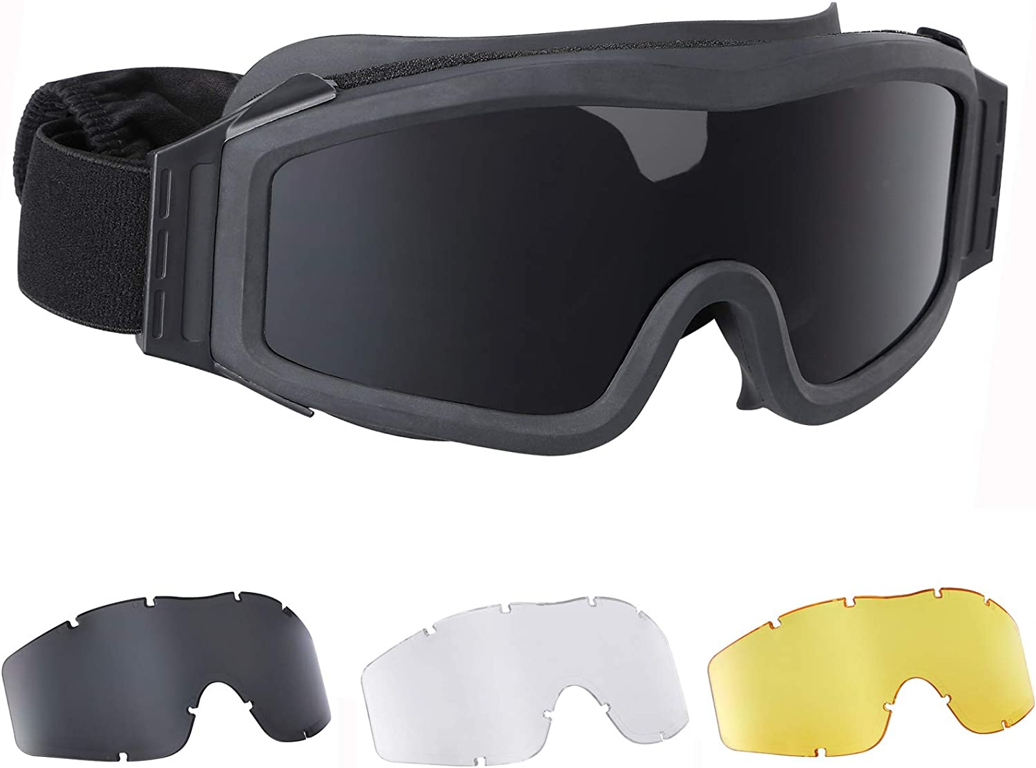 No-branded Tactical Goggles Airsoft Paintball Military Shooting Goggles UV Protection 3 Lens : Sports & Outdoors