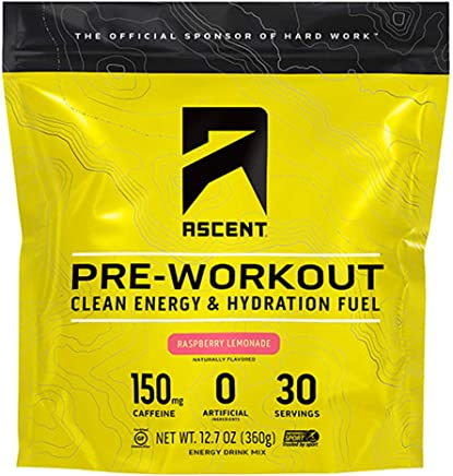 Ascent Pre Workout - Raspberry Lemonade (Tart) - New and Improved Taste - 30 Servings