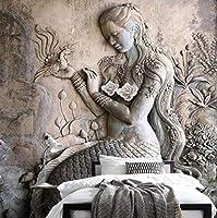 大きなポスターの壁の装飾の壁画カスタム壁画3D立体視レリーフクラシックビューティー彫刻ホール寝室リビングルーム入り口壁画写真壁紙-250cmx175cm(長いですx幅)