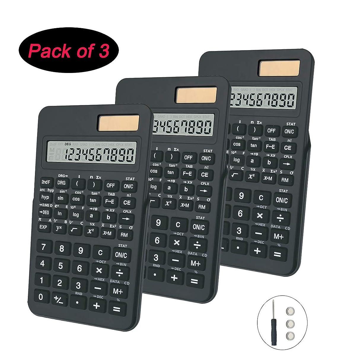 BESTWYA 科学電卓 10桁 デュアルパワー ハンドヘルドデスクトップ電卓 ブラック 3個パック