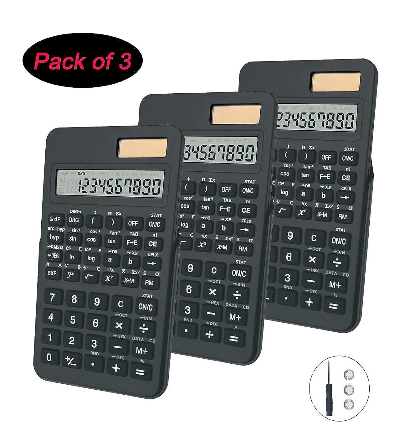 列挙するラリーベルモント先祖BESTWYA 科学電卓 10桁 デュアルパワー ハンドヘルドデスクトップ電卓 ブラック 3個パック