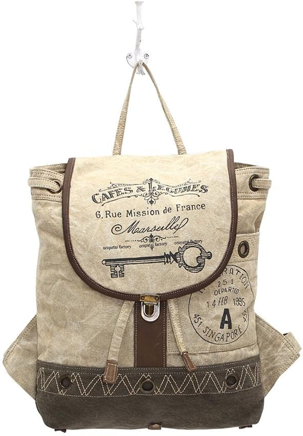 Myra Bags Cafe & Legumes Key Upcycled Canvas Backpack Bag S1003